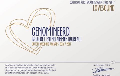 Nieuwsbericht: Nominatie Dutch Wedding Awards 2016